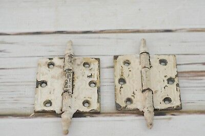 Antique/Vintage 2 Chippy Steeple Door Hinges Hardware Victorian Eastlake Salvage