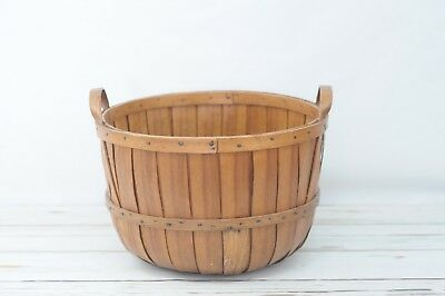 Antique 19th Century Large Slatted Oak Vermont Apple Basket With Bentwood Handle