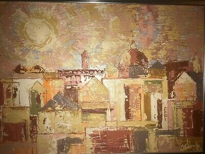 Vintage PETER PROKOP Painting Oil On Artist Board MCM Modern Art ANGELL ESTATE