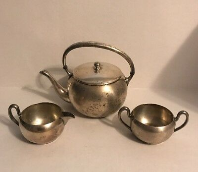Vintage Academy Silver On Copper Tea Set Creamer - Sugar Bowl - Teapot
