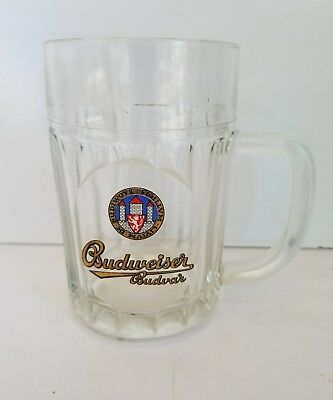 Budweiser Budvar Czech Lager Beer Handled Pint Glass .5L Heavy Glass No chips