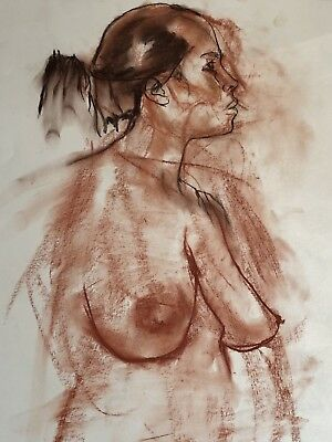 NUDE ORIGINAL ART LARGE CHARCOAL DRAWING by PAUL WAGENER (AMERICAN b. 1918)