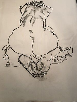 FINE ART ORIGINAL NUDE BACKSIDE CHARCOAL DRAWING by PAUL WAGENER (AMERICAN 1918-