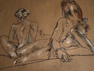 NUDE ORIGINAL ART TWO GIRLS CHARCOAL DRAWING by PAUL WAGENER (AMERICAN b. 1918)