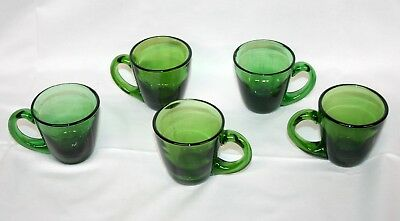 Vintage Hand Blown Emerald Green Glass Tea Cups