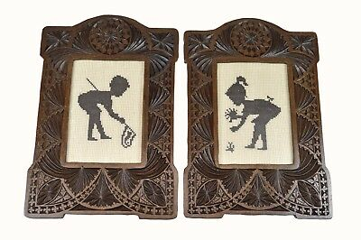 Antique Pair of Frisian Chip Carved Picture Frames, Dutch / Netherlands.