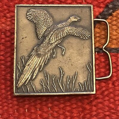 Vintage Brass Belt Buckle 70s Flying Pheasant Retro 1970s Hunting Hunter Badge