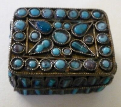 Rare Vintage 1950's 2 Piece With Hand Chipped Turquoise Pillbox Pill Box .24 Oz.