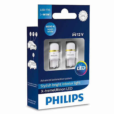 Philips X-treme Ultinon LED W5W (T10) - 4000K Warm White LED Car Bulbs (Twin)
