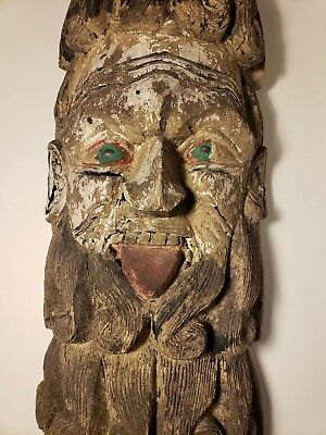 19Th C. Antique Large Mexican Wooden Mask - Moor Style Curly Beard 35 In Long!