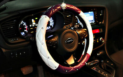 Car Interior Decoration The Steering Wheel Cover Crown Purple White UK