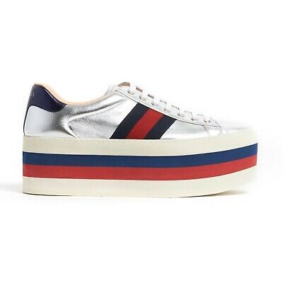 1224965bae4 GUCCI PEGGY LEATHER Platform Sneaker Metallic Gold Rainbow Shoes ...