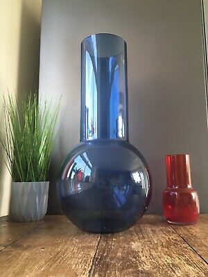 HUGE GIANT RETRO 70's SCANDINAVIAN BLUE ART GLASS VASE RIIHIMAKI ? SHOP DISPLAY