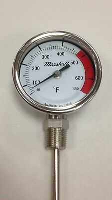 "Asphalt Kettle Thermometer, 50-650F, 3"" Dial, 16"" Stem, 1/2"" NPT Bottom Connect"