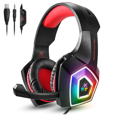 Hunterspider V1 Gaming Headset Over ear headphones wired control with Mic LED