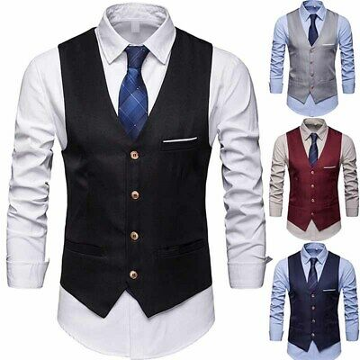 05187a800 Mens Suit Blazer Vest Dress V Neck Lapel Waistcoat Business Formal Pockets  Black