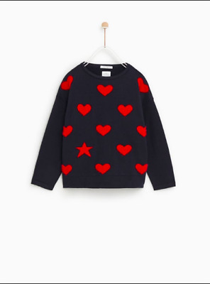 Zara Kids Girls Jacquard Sweater Star Heart Blue/Red 10  years (55,1in)