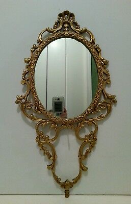 Vintage Ornate Metal French Rococo style Wall Mirror