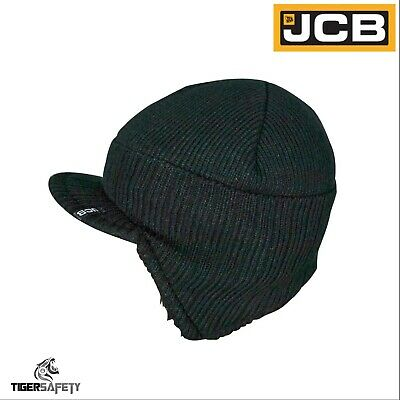 JCB Mens Black Peaked Knitted Beanie Thermal Shepra Fleece Lined Hat Winter Cap