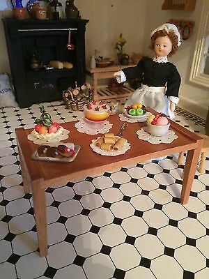 Dolls House dressed table with food display lot 2 Vitorian Period Table Included