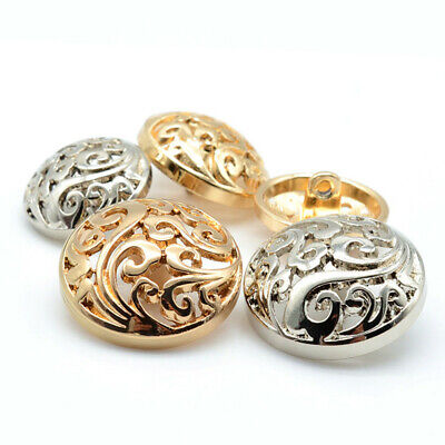 5Pcs Clothing Alloy Gold Silver Plated Vintage Windbreaker Jacket Metal Buttons