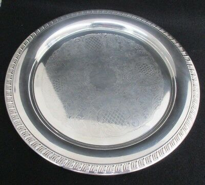 """Leonard EP Antique Silver Plated Round Serving Tray Platter Scroll 12"""" Diameter"""