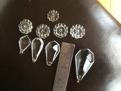 VARIETY OF VINTAGE GLASS CRYSTAL DROPS AND 'LOZENGES' FOR CHANDELIER, Spares.