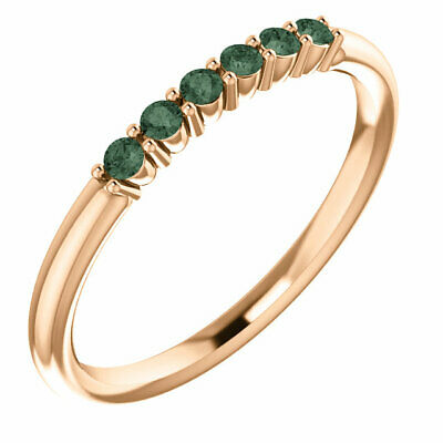 Genuine Alexandrite Stackable Ring In 14K Rose Gold