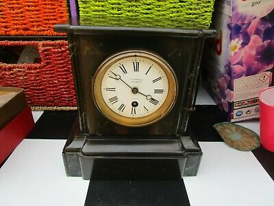Antique? French? Black Slate & Marble Mantle Clock  No Key But Working