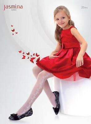 White Patterned Girls Tights Communion Formal Party Bridesmaids KABERETTE