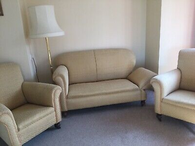 Antique Original Victorian drop arm sofa and two armchairs
