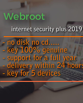 WEBROOT SECURE ANYWHERE internet security 2019 / 3 devices / 1 year |  GLOBAL KEY