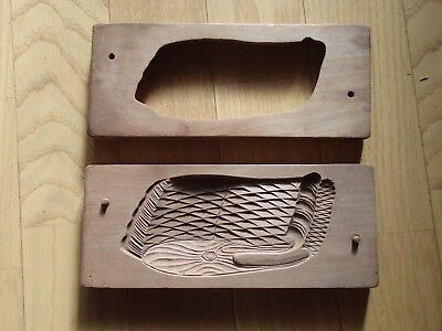 Antique Wooden Japanese Cake Mold Chocolate KASHIGATA Japan wood WHALE stunning
