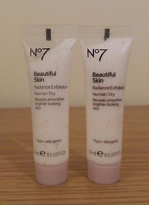 Boots No7 Beautiful Skin Radiance Exfoliator NORMAL/DRY 15ml x2 FREEPOST