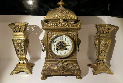 (lot 200) Antique French  Medaille De Bronze  F.Marti Mantle Clock Garniture set