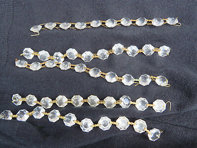 5 X10 Strings 14Mm Glass Button Drops Vintage With Bowtie Wires Ready To Hang