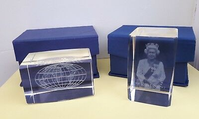 Two Laser Etched 3D Crystal Glass Ornaments - The World and HM Queen Elizabeth