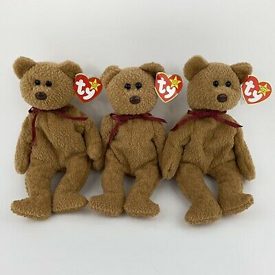 a579c7266ea Lot Of 3 Ty Beanie Baby Curly Bear Retired With Tag Error PVC Pellets  Misspelled