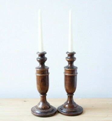 Pair Of Vintage Mid Century Retro Wooden Candle Sticks 2 Candlesticks Home Decor