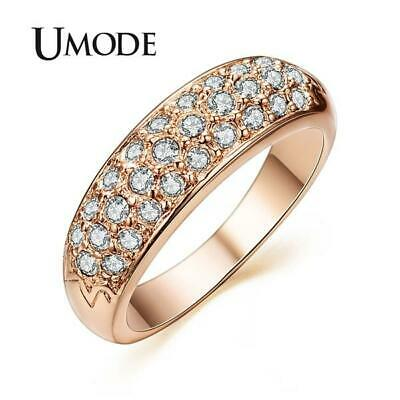 UMODE Rose Gold Colour Studded Finger Ring - Ladies / Women's - Clear Crystals