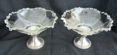Pair VTG Sterling Silver Weighted Base PatternGlass Candy Dishes Duchin Creation