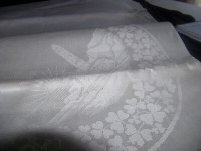 VINTAGE ; STOFFELS PRODUCT TABLE DAMASK ;PURE IRISH LINEN DOUBLE TABLE CLOTH [ r
