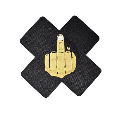 Gold Middle Finger Waterproof Pasties, Nipple Cover Rave & Pool Pasties 2 Pairs