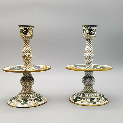 Pair Vintage chinese cloisonne dragon and Phoenix Decorative candle holder
