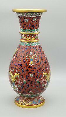 """Antique Chinese Cloisonne Red Vase. Fine & Ornate Ombre Florals, Borders 10"""""""