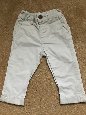 Next Baby Boys Light Grey Cargo Chino Trousers Bottoms 6-9 Months