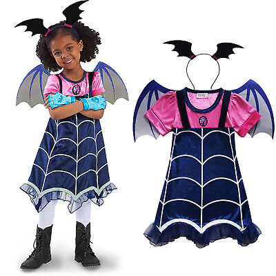 6d58cb1fa Vampirina Cosplay Costume Kids Girls Dress Wings Hair Band Party Outfits  Clothes