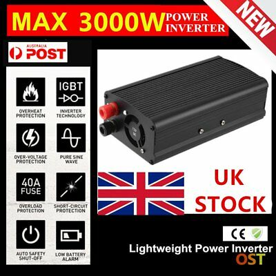 Car 3000W converter power inverter DC 12V to AC 220V - 240V invertor with USB~¥#