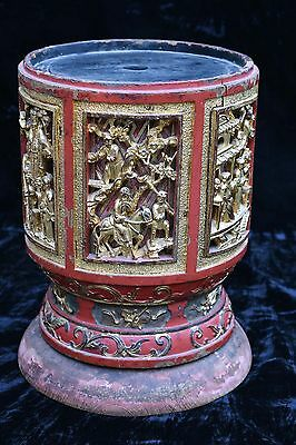 Antique Chinese Wooden Red Gold Altar Stand, Qing Dynasty, 19th c