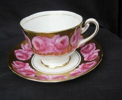 PINK CABBAGE ROSES on GOLD TEACUP & SAUCER by ROYAL CHELSEA
